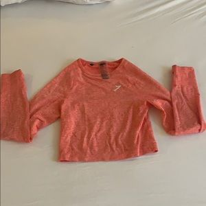 Pink gymshark long sleeve crop top size Small NWOT